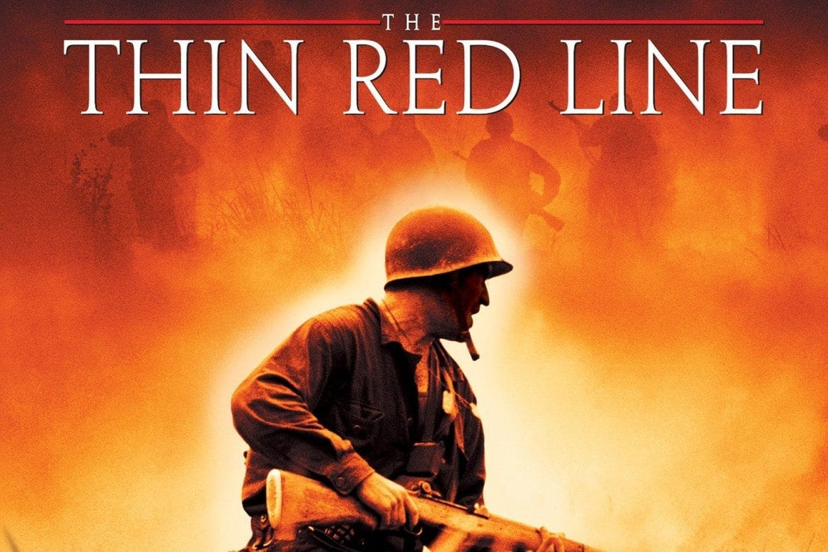 the thin red line The actors in the thin red line are making one movie, and the director is making another this leads to an almost hallucinatory sense of displacement, as the actors struggle for realism, and the movie's point of view hovers above them like a high school kid all filled with big questions my guess.
