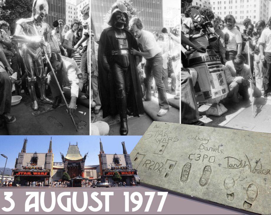 C-3PO, R2-D2, Darth Vader footprints at Grauman Chinese Theater