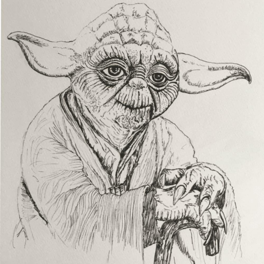 Master Yoda Ink Drawing
