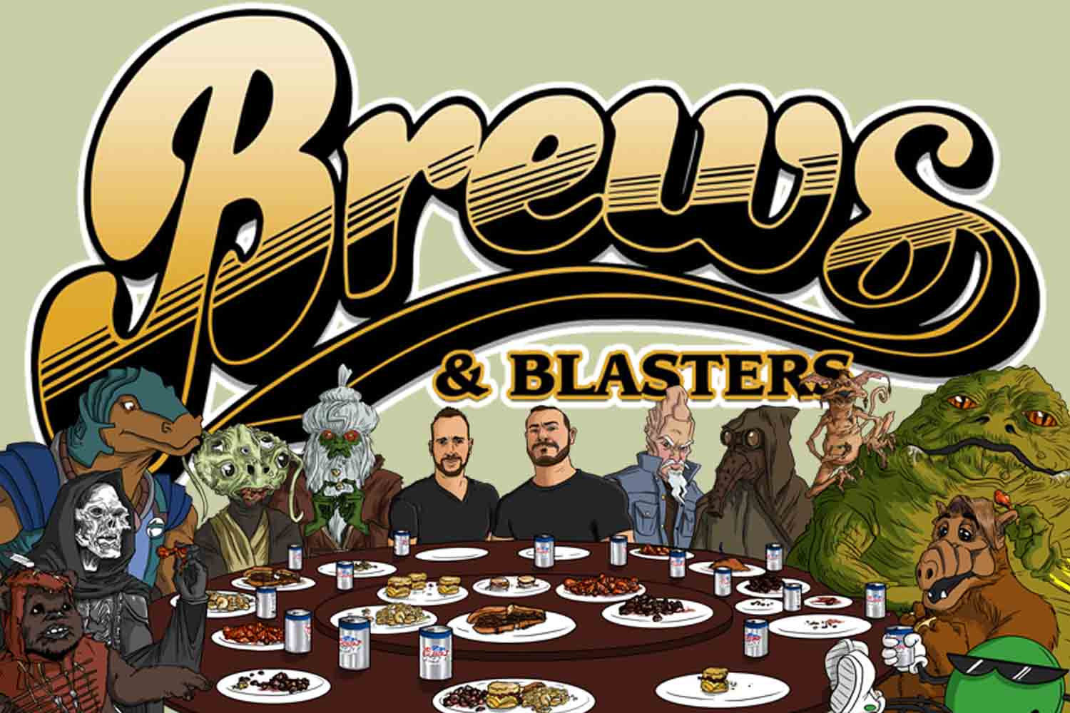 Brews and Blasters banner Star Wars podcast party