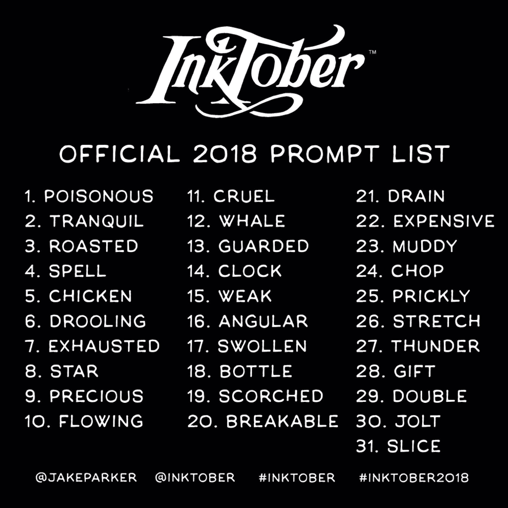 Inktober Prompt List from www.mrjakeparker.com