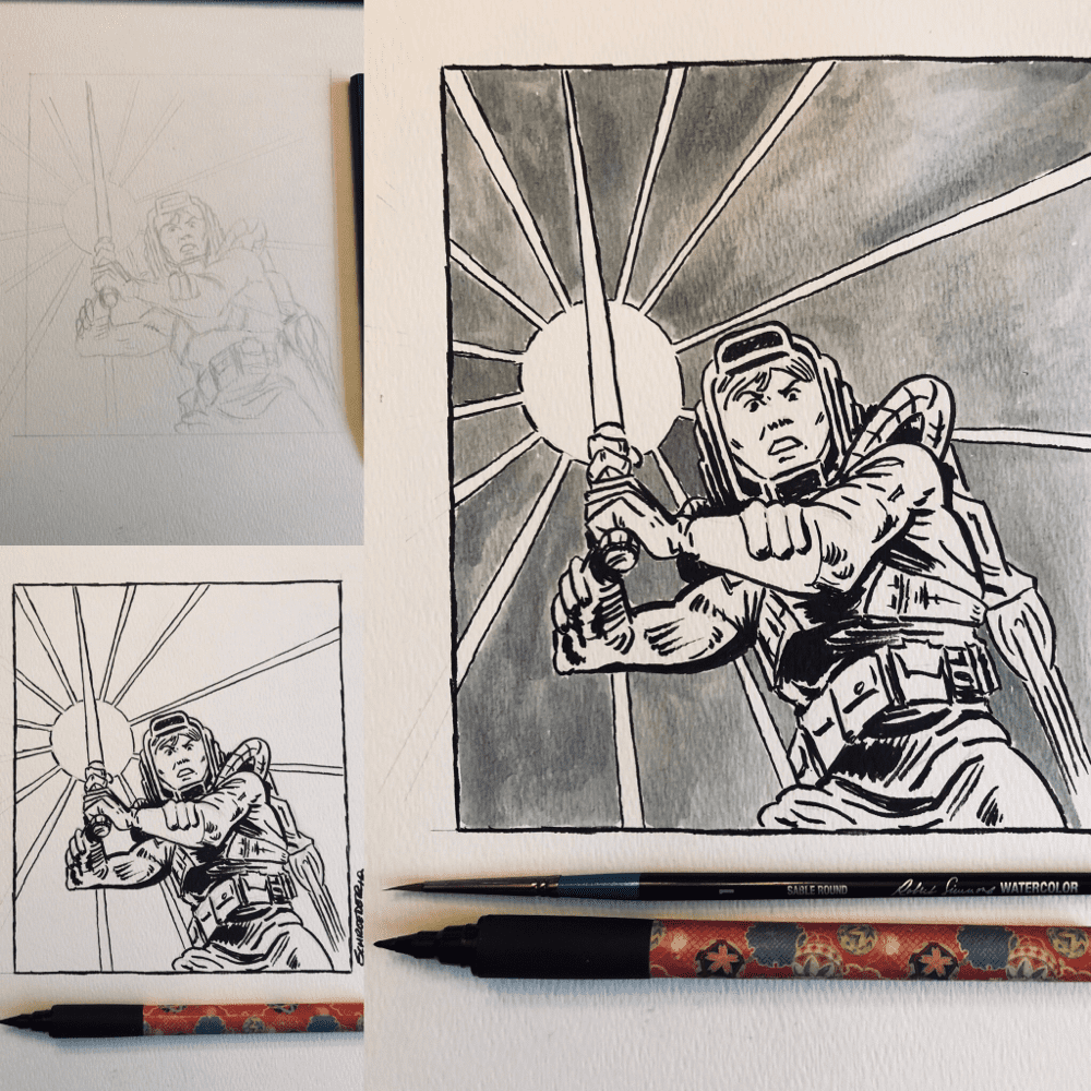 Day 27: Thunder Inspiration for this drawing was ripped from the pages of classic Marvel Star Wars #34 from 1980, Thunder in The Stars. Luke Skywalker, jet packs, and lightsabers! What more could anyone ask for?