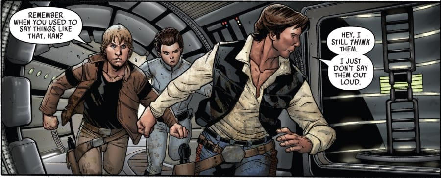 Star Wars #56 - Han, Luke, and Leia, plus the droids, prepare to abandon the Volt Cobra for Hubin