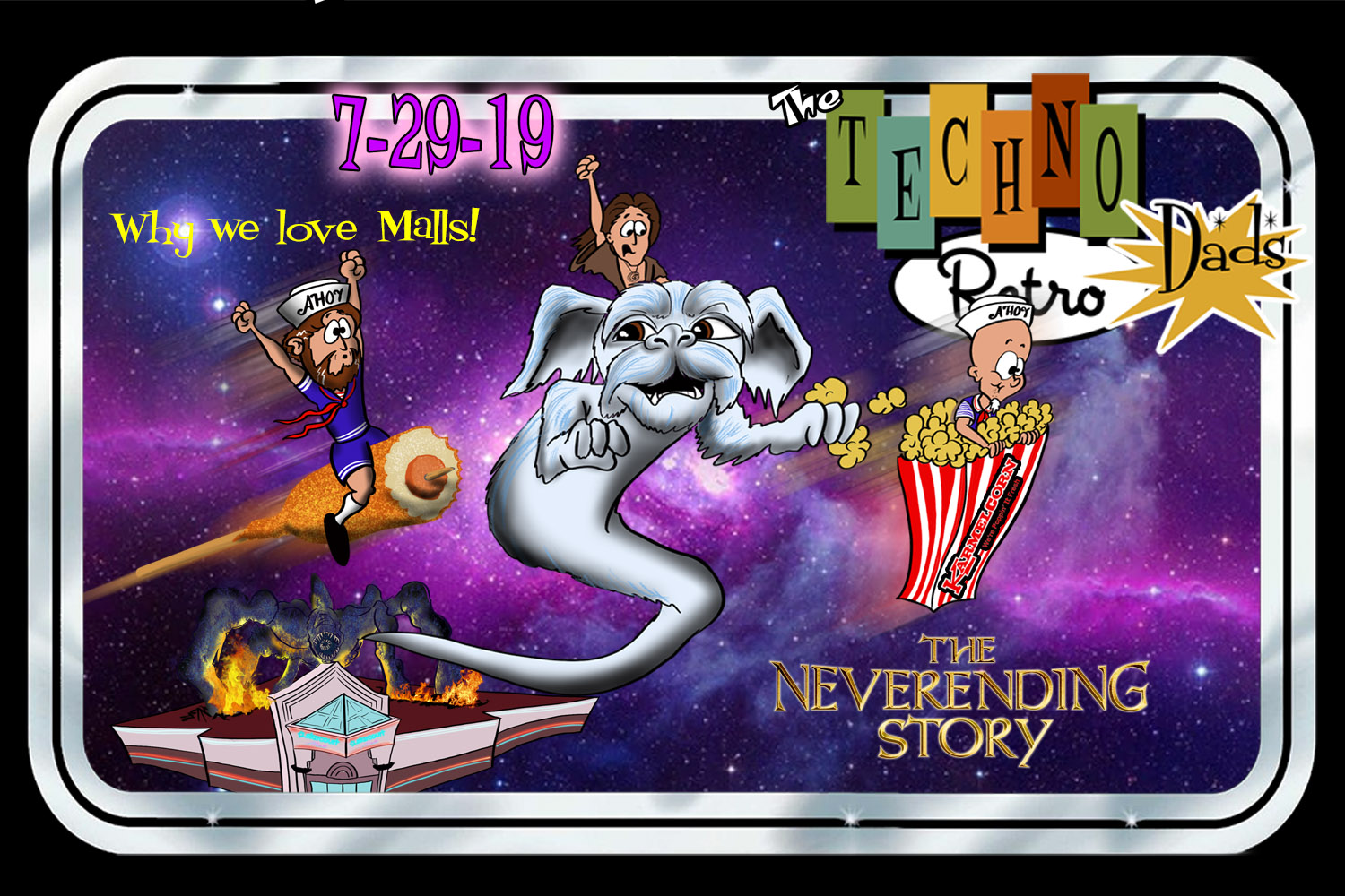 TechnoRetro Dads watch The NeverEnding Story at the RetroZap mall