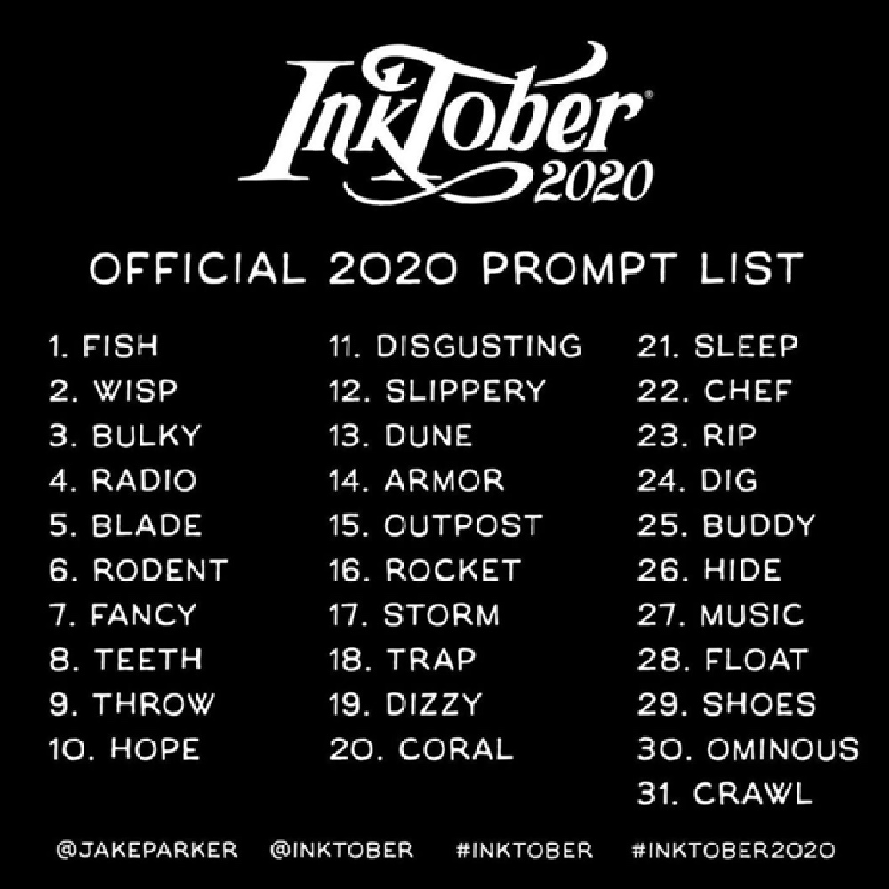 Inktober Drawing Challenge Prompt List