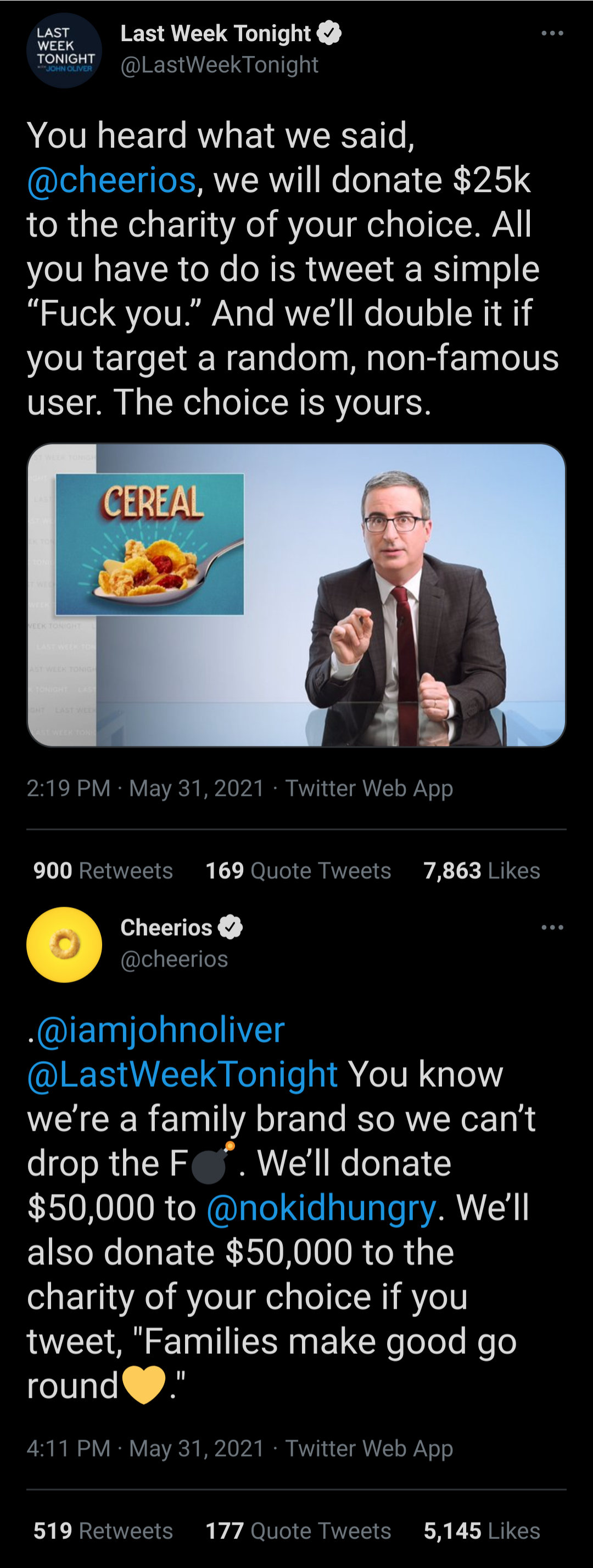 Cheerios and John Oliver
